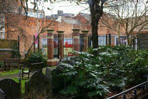 Garden gates leading to St. Peter's lane