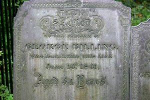Detail, George Billing headstone stone