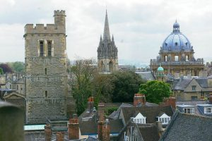 View from the HMC tower, looking at Christ Church College cathedral spire