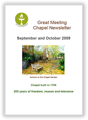 Leicester Unitarians Great Meeting Chapel newsletters 2009
