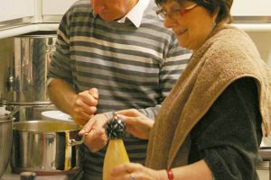 Morag Jones and John Woodward mash the 'tatties and neaps'