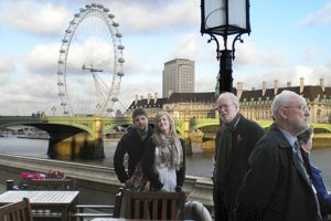 On the terrace with the London Eye in the background