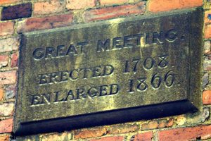 A founding plaque at Great Meeting
