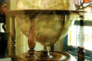 One of two globes in the library, HMC