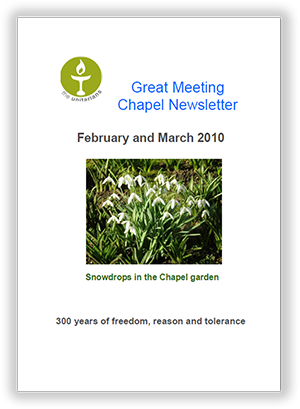Leicester Unitarians Great Meeting Chapel newsletters 2010