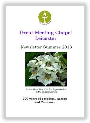 Leicester Unitarians Great Meeting Chapel newsletters 2013