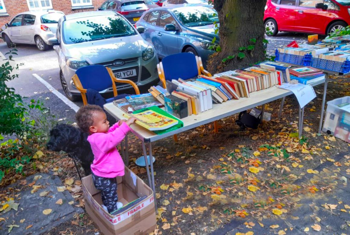 Mica and Bertie at the book stall